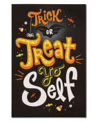 American Greetings Funny Treat Yo Self Halloween Card Glitter, 6-Count, Assorted