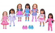 Ebuddy doll clothes Set for American Girl Doll- 7 doll clothes+2 shoes for 37cm Wellie Wishers Willa Dolls