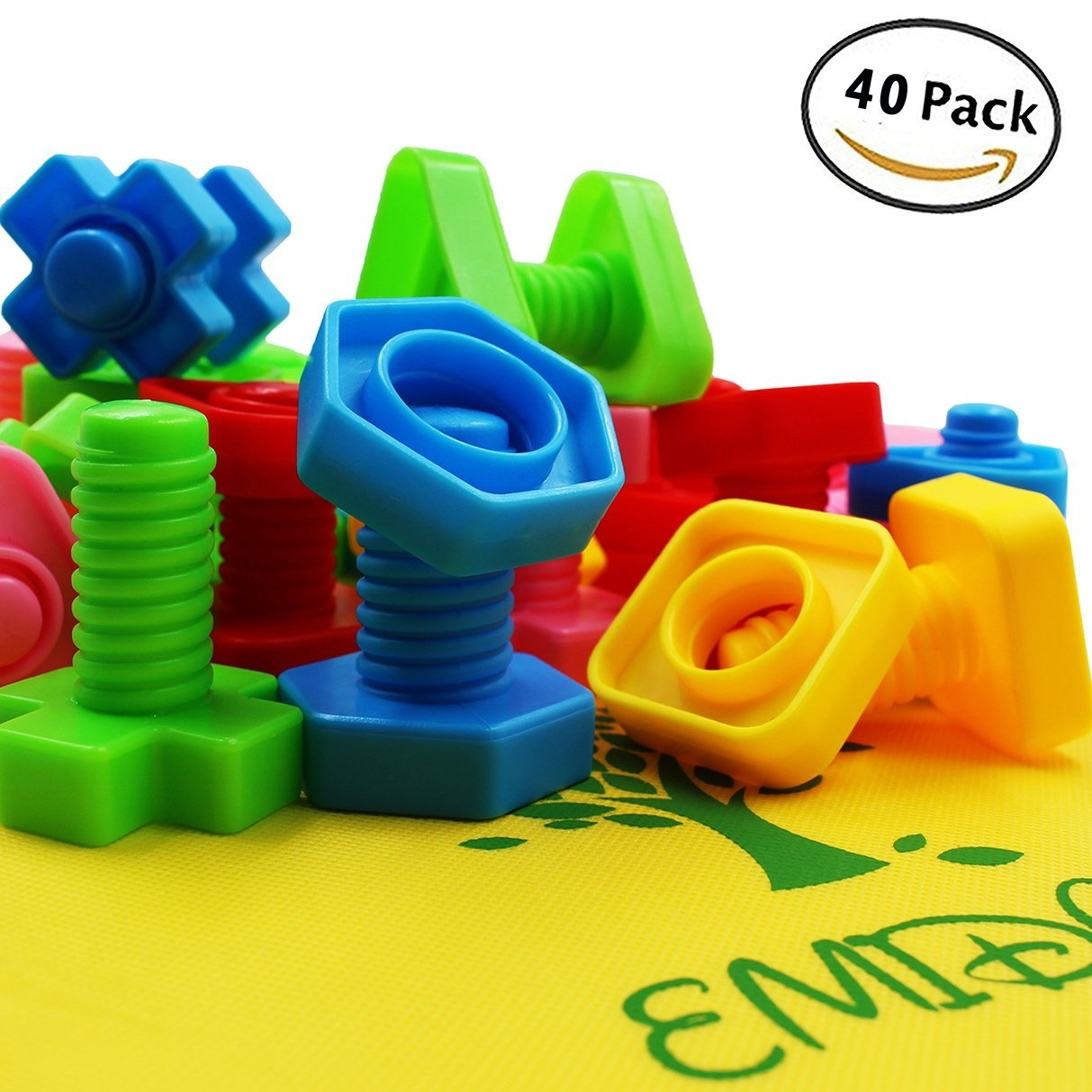 EMIDO 40 Pieces Jumbo Nuts Bolts Toy, STEM Toy, Kids Educational  Enlightenment Toys, Occupational Therapy Autism,Safe Material for Kids -  Matching