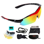Polarised Sports Sunglasses, UV 400 Protection Unisex Glasses with 5 Sets Interchangeable Lenses, Fishing Skiing Driving Golfing Running Cycling Camping Sports and Outdoors Activities Eyewear for Men and Women