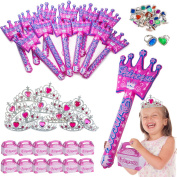 Princess Party Supplies - Party Favours - 60 Pc Set - Kids Crowns & Tiaras, Huge Inflatable Wands, Treat Boxes & Princess Rings by Funny Party Hats