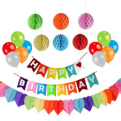 Happy Birthday Party Decoration with A Hanging Happy Birthday Banner, 6 Colourful Tissue Pom Pom Balls, 10 Assorted Latex Balloons, A Rainbow Heart Shape Paper Garland