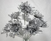7 Mums Silver Wedding Bridal Bouquet Silk Flowers Centrepiece 25Th Anniversary