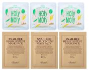 Snail Mask : 3 Benton Snail Bee High Content Sheet Mask & 3 COSRX Holy Moly Snail Sheet Masks Pack
