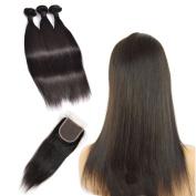 JINREN Brazilian Straight Virgin Human Hair 3 Bundles with Lace Closure Unprocessed Brazilian Straight Hair Weave with 1pc 4x 4 Lace Top Closure 41cm 46cm 50cm with 30cm Closure