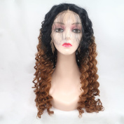 Ombre Synthetic Lace Front Wigs With Baby Hair Heat Resistant Kinky Curly Synthetic Wig For Black Women 70cm
