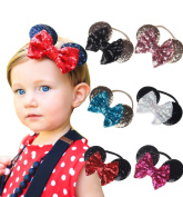 JOKHOO Baby Girl Headbands Elastic Bowknot Mickey Ears Hairband With Sequin Bow for Baby and Toddlers (6 PCS)