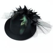 HUELE Women's Fascinator Flower Hair Clip Feather Burlesque Punk Mini Hat Black