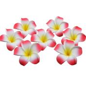 100 Pcs 6.1cm Hawaiian Flowers Plumeria Frangipani Hawaii Foam Flower for Party Decoration DIY Hair Accessories Red
