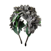 Soft Petals Flower Wreath Hair Band - Grey
