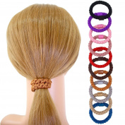 Fashion & Lifestyle 20 Pcs Large Hair Ties Pony Ponytail Holders for Thick Hair - Stretchy Elastics Hair Bands Boutique Woven Ropes for Women and Girls, Candy