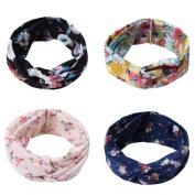 iEFiEL Women & Girls Elastic Turban Head Wrap Headband Floral Twisted Make up Hair Band