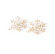 Redriver 2Pcs Snowflake Hairpins With Crystal Rhinestone Barrette Hair Pin Clips Bridal