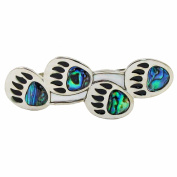 Storrs Wild Pearle Handmade Abalone Shell Hair Barrette Silver Plated Bear Tracks