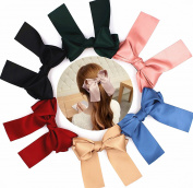 6 Pcs 5.5 Large Big Huge Oversize Soft Silky Hair Bows Clip Lolita Party Girl Women French Barrette Hair Clips by Mylot
