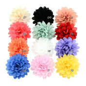 Redriver 12 PCS Baby Girls Hair Clip Chiffon Flower Toddler Barrette Hair Accessory