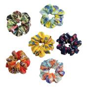 6Pcs Soft Summer Style Colourful Flower Large Hair Scrunchies Set Women Chiffon Hair Scrunchy
