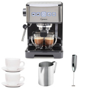 Capresso 12401 Ultima PRO Programmable Espresso and Cappuccino Machine with 2 Cup and Saucers (90ml), Stainless Steel Frothing Pitcher and Handheld Milk Frother