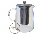 Basic Needs Glass Teapot with Infuser - Tea in a Mesh Filter Strainer for a Delicious Hot or Iced Cold Brewed Beverage Single Serving or in a Pitcher Over Warmers