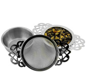 Empress Tea Strainers with Drip Bowls (2-Pack); Elegant Stainless Steel Loose Leaf Tea Strainers