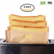 Toaster Bags Willceal,Pack of 6,Beige Non Stick Reusable,Reusable and Heat Resistant