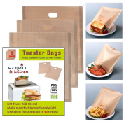 Toaster Bags 17cm x 19cm Set of 3 Non-stick Teflon Reusable, Perfect for Grilled Cheese Sandwiches, Chicken, Nuggets, Panini, Garlic Toasts and More! AZ GRILL & KITCHEN