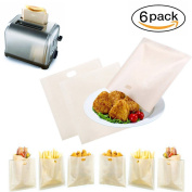 Toaster Bags ( Set of 6 ). 100%Non Stick Toaster Bags、Heat Resistant ,Reusable and Easy To Clean、Perfect for Using in Toaster、Oven、Microwave
