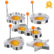 Fried Egg Ring Mould Cooker,[Upgraded,Reinforced,Thicker]MayPal 5PCS Different Shapes Stainless Steel Set Fried Pancake Mould Cooking Kitchen Tool