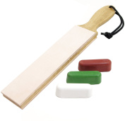 Leather Paddle Strop Double Sided 3.8cm Wide and 3 Compounds