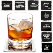 Set of 8 Premium Funny Coasters for Drinks- Large Size 10cm Square - PLUS 2 Stainless Steel Ball Design Wine Bottle Stoppers - Bar Tools Collection by Prego Unlimited