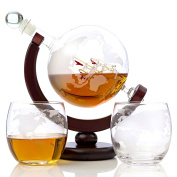 Whiskey Globe Decanter Set – 850 ml with Two World Etched Whiskey Glasses (300ml) Wooden Base and Safe Package – Perfect Gift Set for Liquor, Scotch, Bourbon, Vodka and Wine