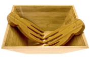 Bamboo Salad Bowl with Serving Hands; Large Eco-Friendly Bamboo Square Bowl with Matching Tosser/Server Claws . Design which Looks Great On Your Kitchen, By Falofy Kitchen