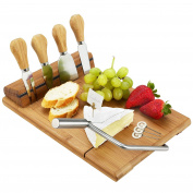 Bamboo Board Set with Wire Cheese Slicer, 4 Stainless Steel Tools & Cheese Markers - 32cm x 29cm x 6.4cm high