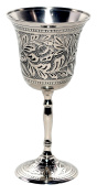 Premium Quality Silver-Nickel Plated - Antiqued Wine Goblet / Kiddush Cup /Chalice - by Alchemade