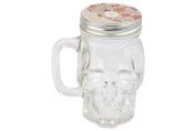 Skull Face Drinking Glass Mason Jar Mug with Handle Lid & Straw