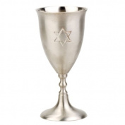 Classic Pewter Kiddush Wine Cup with Engraved Star of David