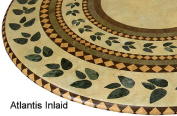 Mosaic Table Cloth Round 90cm - 120cm Elastic Edge Fitted Vinyl Table Cover Inlaid Atlantis Pattern Brown Tan Green