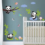 Dragon Honour Cute Panda And Bamboo Children Room Kindergarten Mural Wall Sticker Decals Decoration