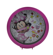 Disney Minnie Mouse Dual Function Clock w/ Tabletop or Wall Hanging Feat. - Play Room Clock