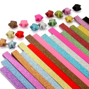 Kosause Glitter Origami Stars Paper Folding Strips - 18 Colours, 360 Sheets
