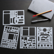 BULLET JOURNAL STENCIL SET 4 PACK - Banners, Dividers, & Icons Fits Leuchtturm & Moleskine A5 Notebooks, Best Used with Huhuhero Fineliners & Sakura Micron Pens, 13cm X 18cm