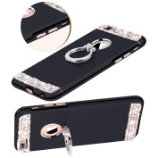 iPhone 7 Plus Case Shockproof,ikasus Glitter Bling Crystal Rhinestone Diamond Kickstand Soft Silicone & Hard PC Dual Layer Non-slip Grip Protection Bumper Case Cover for Apple iPhone 7 Plus 14cm ,Black