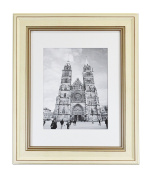 Golden State Art, 28cm x 36cm Cream Colour Photo Frame with Brown Trim,5.1cm Moulding 8x 10-White Mat contain Real Glass