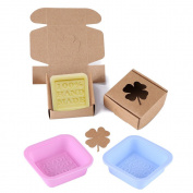DIY Silicone Handmade Soap Mould, 2pcs Candy Cake Chocolate Craft Mould Tool with 10pcs Brown Paper Package Box