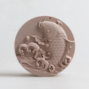 Grainrain Craft Art Fish Food Grade Silicone Soap Mould Round Diy Candle Resin Wax Mould