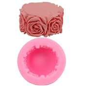 Mr.S Shop 1 pcs Round Rose silicone mould DIY Soap Cylindrical candle Model Making a cake Mould