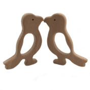 Wendysun 2pcs Natural Beech Wood Animal Hand Cut Woodpecker Pendent Organic Handmade Wooden Toy DIY Jewellery Making Accessories