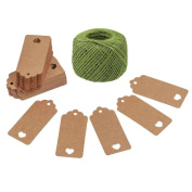 Lwestine 100pcs Hollow Heart Kraft Paper Gift Tags, With 50m Green Twine Jute, Khaki Jewellery Support Cards, Wedding Party Favours