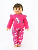 Hot Pink Unicorn Pyjamas| Fits 46cm American Girl Dolls, Madame Alexander, Our Generation, etc. | 46cm Doll Clothes