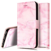iPhone 5C Case, PHEZEN iPhone 5C Wallet Case - Pink Marble Creative Design PU Leather Flip Cover Stand Folio Protective Cover Case with Card Slot for iPhone 5C - Pink Marble